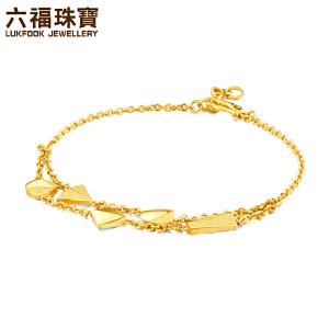 六福珠宝金饰魅力系列几何双层黄金手链女款足金手饰    HXG60023