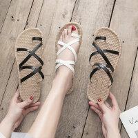女士一字扣拖鞋时尚软底学生凉鞋 新款防滑沙滩罗马鞋女士套趾平底凉鞋女