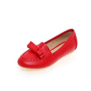 O'SHELL法国欧希尔新品152-A11韩版超纤皮平跟蝴蝶结舒适女士单鞋