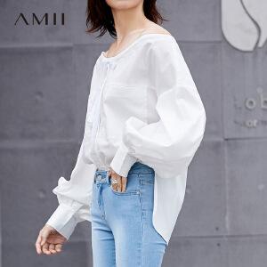 【到手价:163元】Amii韩版chic一字领系带设计感衬衫2019春灯笼袖纯色长袖套头上衣