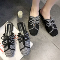 女士方头平底懒人鞋子室内拖鞋 新款蝴蝶结穆勒鞋女 外穿包头半拖鞋女