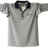 秋装上衣长袖t恤polo衫男薄款秋衣打底衫中年男士大码翻领体恤棉 浅灰色 SKS-6802