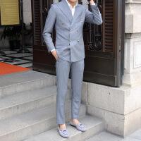 觉绅 男式休闲西装单排两粒扣条纹西服套装男士正装套装 条纹套装