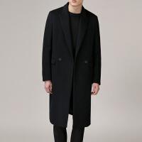 秋冬季新款韩版毛呢大衣男中长款宽松纯色学生青年黑色羊绒大衣男