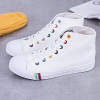 匡王新款女鞋PU皮质白色帆布鞋女韩版潮高帮系带学生平跟板鞋休闲鞋子