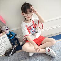 女童运动套装儿童女宝宝夏季短袖上衣短裤两件套