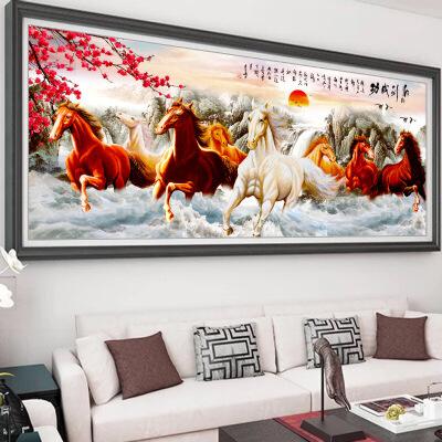 满绣十字绣八骏图马到成功2019客厅新款线绣大幅八匹马风景山水画 图片色