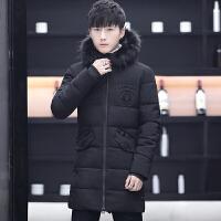男士棉衣中长款大毛领冬季加厚外套韩版潮流修身帅气学生袄子