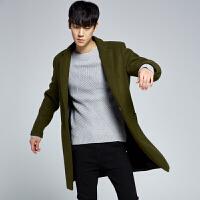 秋冬装男士风衣中长款外套男装毛呢大衣妮子外套青年学生韩版潮