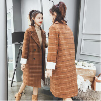 原宿毛呢外套女中长款冬季韩版学院风拼接复古格子妮子大衣小个子