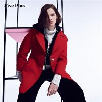 Five Plus女装仿毛呢外套女中长款宽松西装潮单排扣大衣长袖