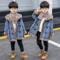 男童呢子大衣加绒中大童洋气冬季童装儿童毛呢外套潮