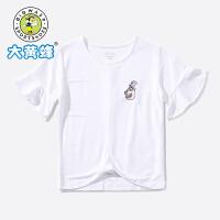 【抢购价:39.9元】大黄蜂女童装 儿童夏季短袖T恤小学生韩版洋气时尚运动街头短T潮