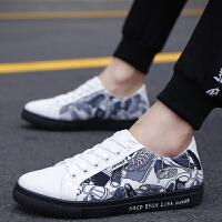 春季新款低帮男鞋子韩版潮流男士休闲鞋学生百搭帆布板鞋运动潮鞋