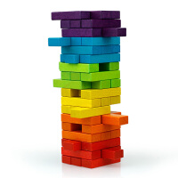 积木抽抽乐桌面玩具层层高礼物榉木儿童叠叠高彩色积木叠叠乐