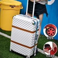 铝框拉杆箱万向轮24寸行李箱女硬箱男登机箱20学生旅行箱子26 耐刮磨砂面【白色】 刹车轮