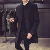 秋冬季新品毛呢外套男韩版潮流立领中长款妮子大衣男青年修身风衣 X
