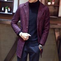 男士风衣新款帅气中长款冬季韩版修身长款过膝大衣风衣外套男