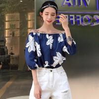 春装韩版新款一字领性感露肩衬衣衬衫宽松套头大花朵上衣女装