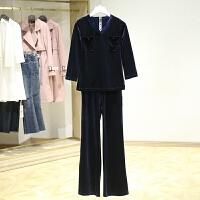 春装新款套装时尚 V领九分袖上衣收腰显瘦休闲裤两件套