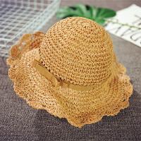 女童夏天遮阳帽儿童草帽韩版公主帽大沿可折叠太阳帽度假沙滩帽潮