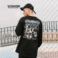 VIISHOW2018新款T恤潮牌印花圆领男士长袖体恤情侣装韩版宽松帅气