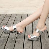 凉拖鞋女18夏季新款凉鞋女超高跟细跟时尚拖鞋韩版鱼嘴厚底一字拖