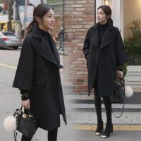 妮子大衣女学生2017新款秋装韩版中长款秋冬毛呢黑色外套韩国