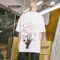 VIISHOW夏季2018新款短袖T恤男 印花情侣潮流半袖男装男生衣服t
