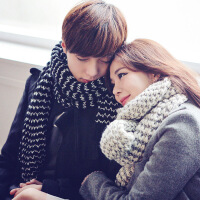 韩观韩版毛线围巾女冬季加厚长款冬天情侣针织套头男学生保暖围脖
