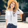 【2件8折/3件7折】裂帛女装2018夏新款刺绣圆领百搭宽松短袖上衣 休闲贴袋T恤女