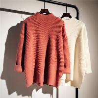 半高领套头毛衣女20秋冬新款韩版加厚宽松不规则学生打底针织衫 砖红色 暖暖的半高领纹路 均码