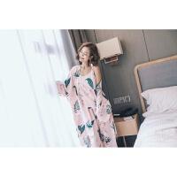 韩版女士睡衣三件套日系可爱百合印花棉绸吊带长袖家居服套装XC