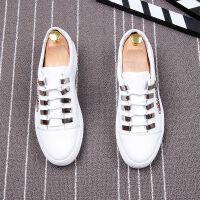 真皮白色板鞋男透气系带休闲鞋厚底增高鞋青年潮流男鞋韩版春季潮