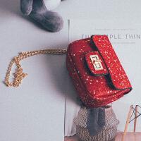 七夕礼物女童包包斜挎包2018新款韩版美爆公主时尚小女孩链条单肩包宝宝包 红色