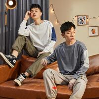 [直降]唐�{秋季新款�L袖T恤男�b拼接衣服潮��松上衣�A�I打底衫