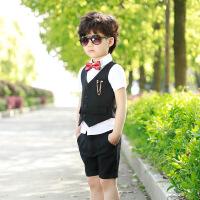 小童男装夏1一3岁潮宝宝套装男童儿童西装三件套男孩礼服小西装夏