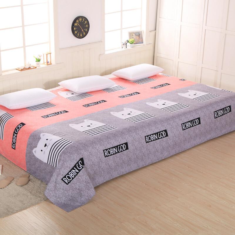 床单单件卡通双人床大床2.7米3米3.5m4米大炕床单大号地炕单 银色 猫先生