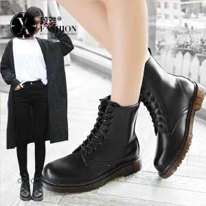 【满200减100】毅雅秋冬女鞋英伦风马丁女短靴加绒棉靴女靴中筒靴YM5RR6534