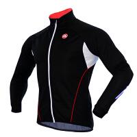 自行车长袖骑行服秋冬季抓绒保暖上衣男款装备 风行 黑色