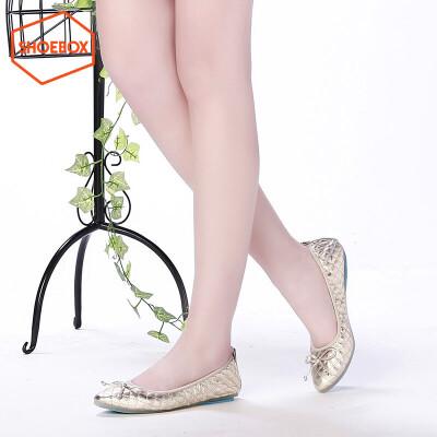 达芙妮旗下shoebox鞋柜尖头平底浅口鞋女 透气柔软时尚蝴蝶结单鞋1116101069