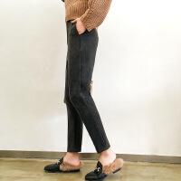 休闲裤时尚韩版潮流简约修身显瘦甜美长裤口袋2017年冬季