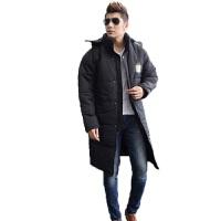 冬季新款足球训练大衣羽绒服男士加长加厚运动大衣冬季足球运动外套保暖速胜 黑色