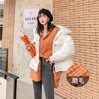 七格格长袖衬衫女2019新款冬季宽松韩版中长款格子洋气百搭上衣潮
