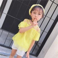 女童上衣夏季新款韩版中小童甜美可爱网纱短袖透视肩T恤衫潮