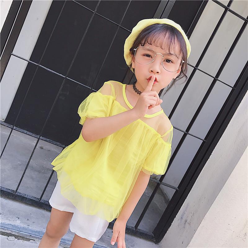 女童上衣夏季新款韩版中小童甜美可爱网纱短袖透视肩T恤衫潮 发货周期:一般在付款后2-90天左右发货,具体发货时间请以与客服协商的时间为准