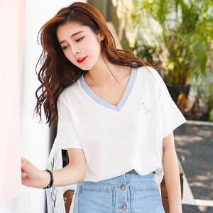 夏季新品韩版宽松百搭棉拼接V领短袖T恤女装上衣显瘦小衫女