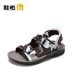 【达芙妮超品日 2件3折】鞋柜夏季男童韩版迷彩印花中大童软底沙滩儿童凉鞋