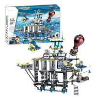 儿童拼装积木神威海警海上大监狱追捕行动指挥场景卡车模型立体拼插男孩玩具礼物