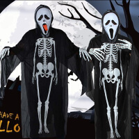 万圣节服装儿童成人僵尸吸血鬼骷髅吓人衣服恐怖死神鬼衣斗篷道具